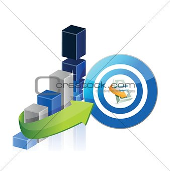 business graph and money target illustration design