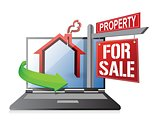 laptop real estate search and buy concept