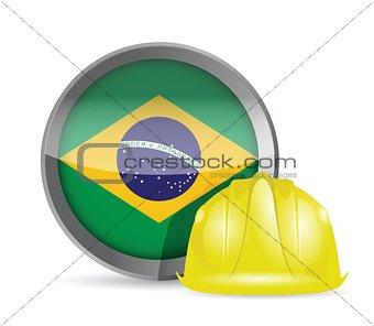 Brazilian flag and construction helmet