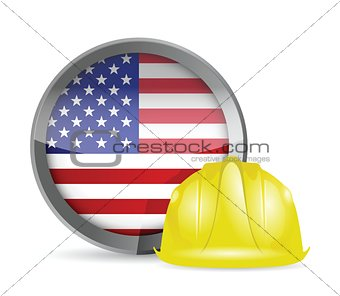 american flag and construction helmet