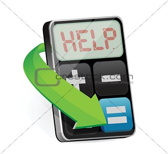 calculator displays the word Help illustration