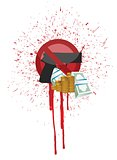 money and blood gun illustration design