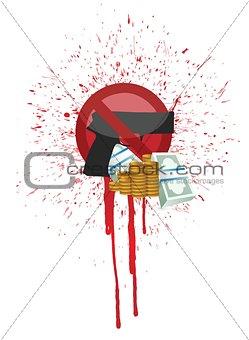 money and blood gun illustration design