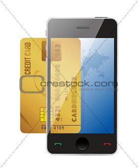 smartphone with credit card, concept