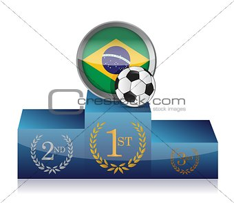 brazil soccer winner's podium illustration design