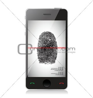 smartphone scanning a finger print illustration