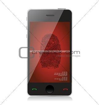 smartphone scanning a finger print illustration