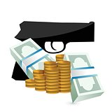 money and a gun illustration design