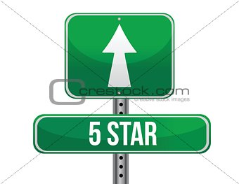 five stars road sign illustration design