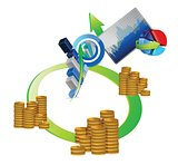 money cycle and business graph set design