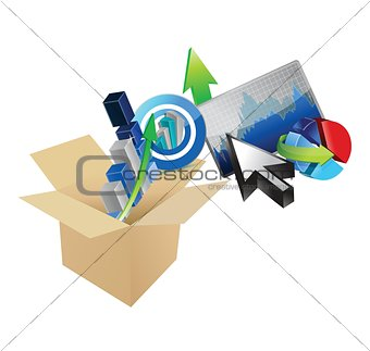 box business graph set design illustration