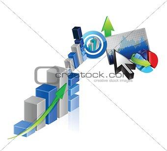 business graph set design illustration