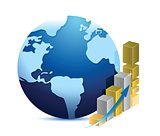 globe and business graph illustration design