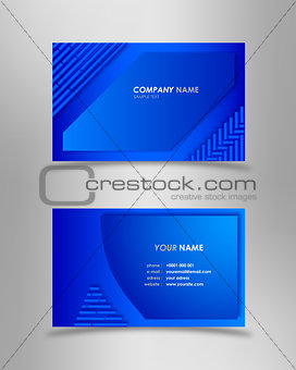 Abstract modern blue business card