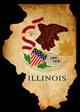 USA American Illinois State Map outline with grunge effect flag