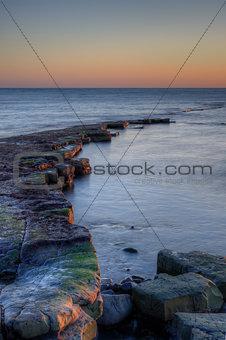 Winter sunset Kimmeridge Jurassic Coast
