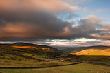 View along Swaledale valley towards Gunnerside in Yorkshire Dale