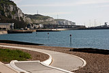 Dover sea front, cliffs and port
