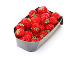 Ripe Red strawberries in paper box