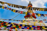 Bouddhanath stupa and colorful buddhist flags
