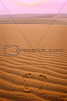 Two footprints in sand in the desert