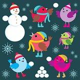 Set Of Winter Birds And Snow Man
