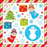 Scrapbook Elements With With Christmas And New-year Characters