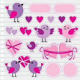 Scrapbook Elements With Hearts And Birds