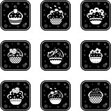 Cupcakes set icons