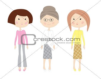 Three drawn cartoon business women