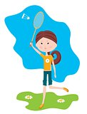 Cartoon girl plays badminton