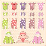 Scrapbook Elements With Baby Clothes