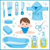 Set Of Children's Things For Bathing