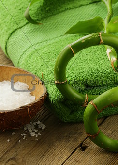 branch of bamboo, sea salt and towel - green spa concept