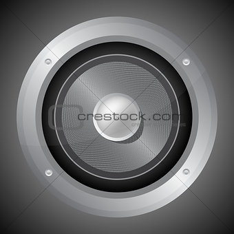 Audio speaker isolated on black background