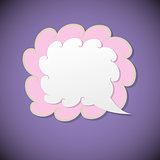 Retro speech bubble on violet background
