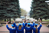 Backs of graduates