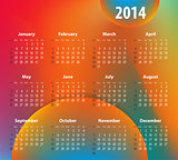 Colorful calendar for 2014 year