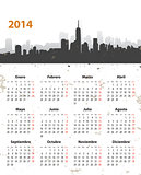 Spanish 2014 year stylish calendar on cityscape grunge backgroun