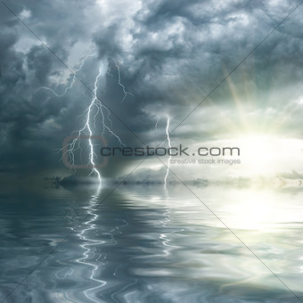 Thunderstorm with rain and lightning