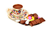 a cup of Turkish coffee with chocolate, on white background