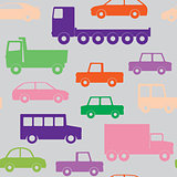 Cars and trucks seamless pattern