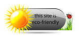 Vector eco button with green grass, sun and ladybug