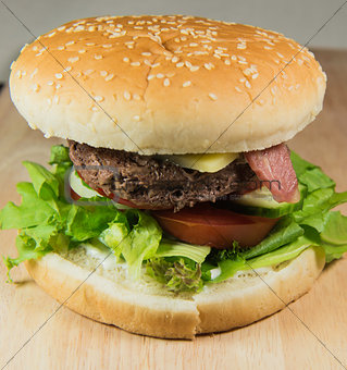 A freshly prepared hamburger