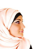 Girl with pink headscarf.