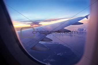 Flight on sunset