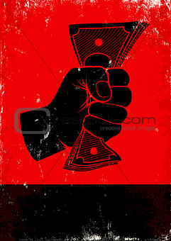 poster with fist and money