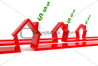three red houses with dollars