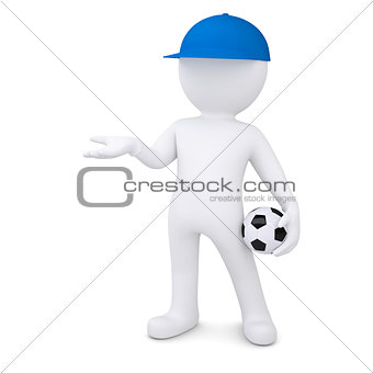 3d white man with soccer ball holds out empty hand