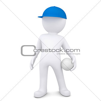 3d white man with a volleyball ball